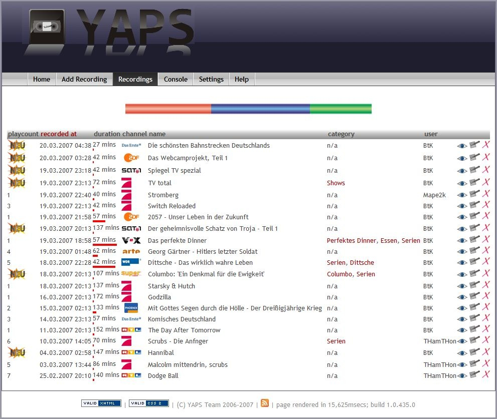 YAPS progress (tuxbox, xmltv, xml settings, new gui