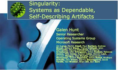 微软发布 Singularity 操作系统 未引起预期轰动